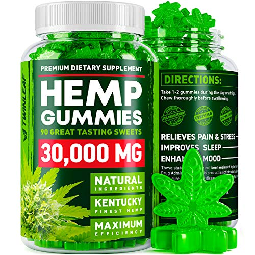 61VS0JkEgGL - Hemp Gummies - 30000 MG - Premium Stress & Anxiety Relief - Made in USA - 100% Natural & Safe Oil Gummies - Mood Enhancer & Immune Support - Rich in Vitamins B, E & Omega 3 - 90 PCS