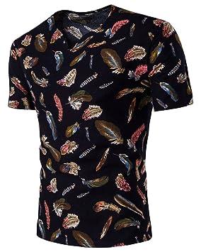 Hombre Verano Ropa Casual Top Camisa Blusa Camiseta Shirt Cuello Redondo Manga Corta Estampado de Flores