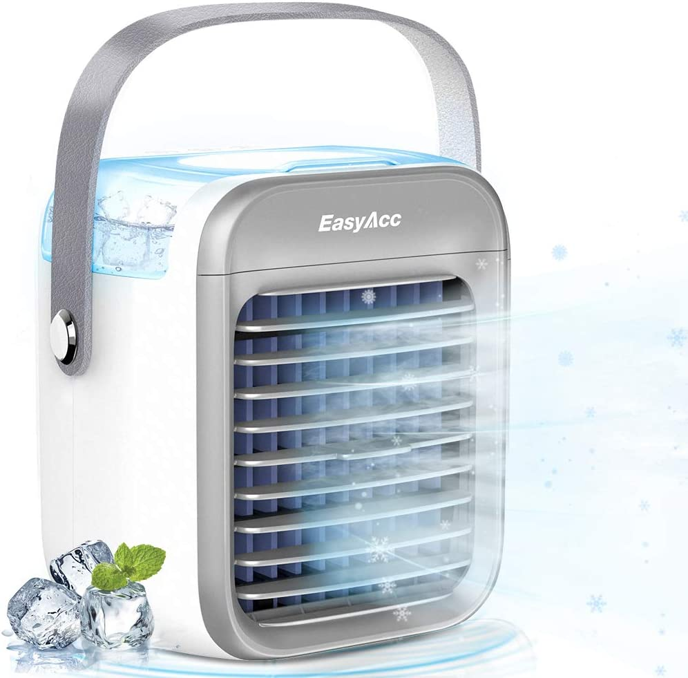 Air Cooling Fan, EasyAcc Air Conditioner Fan Battery Desk Fan Can Add 300ML Water and Ice USB Desk Fan 3 Speeds Color LED Light Portable Personal Fan Air Circulating Cooler for Home Office Outdoor BBQ