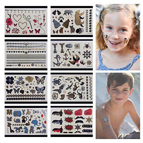 Twink Designs Temporary Tattoos for Kids | 166 Tattoos on 8 Sheets for Boys and Girls | for Party Favors and Supplies | Stocking Stuffers and Goodie Bags | Fake Metallic Temporary Tatoos for Children]()