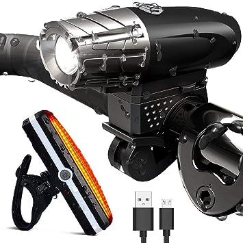 beseloa Luces de Bicicleta Luces Delanteras LED Negras para ...