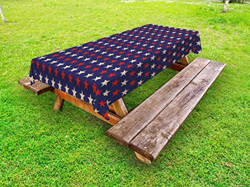 Ambesonne USA Outdoor Tablecloth, Vintage Patriotic True Blue Home Country My Land Birthday Retro Artsy Pattern, Decorative Washable Picnic Table Cloth, 58 X 104 Inches, Dark Blue Cream Red by Ambesonne
