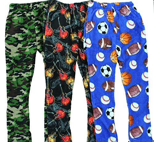 Boyz Club Pajama Bottoms for Boys - Pack of 3 - Guitar, Camo, Balls - Size 8/10