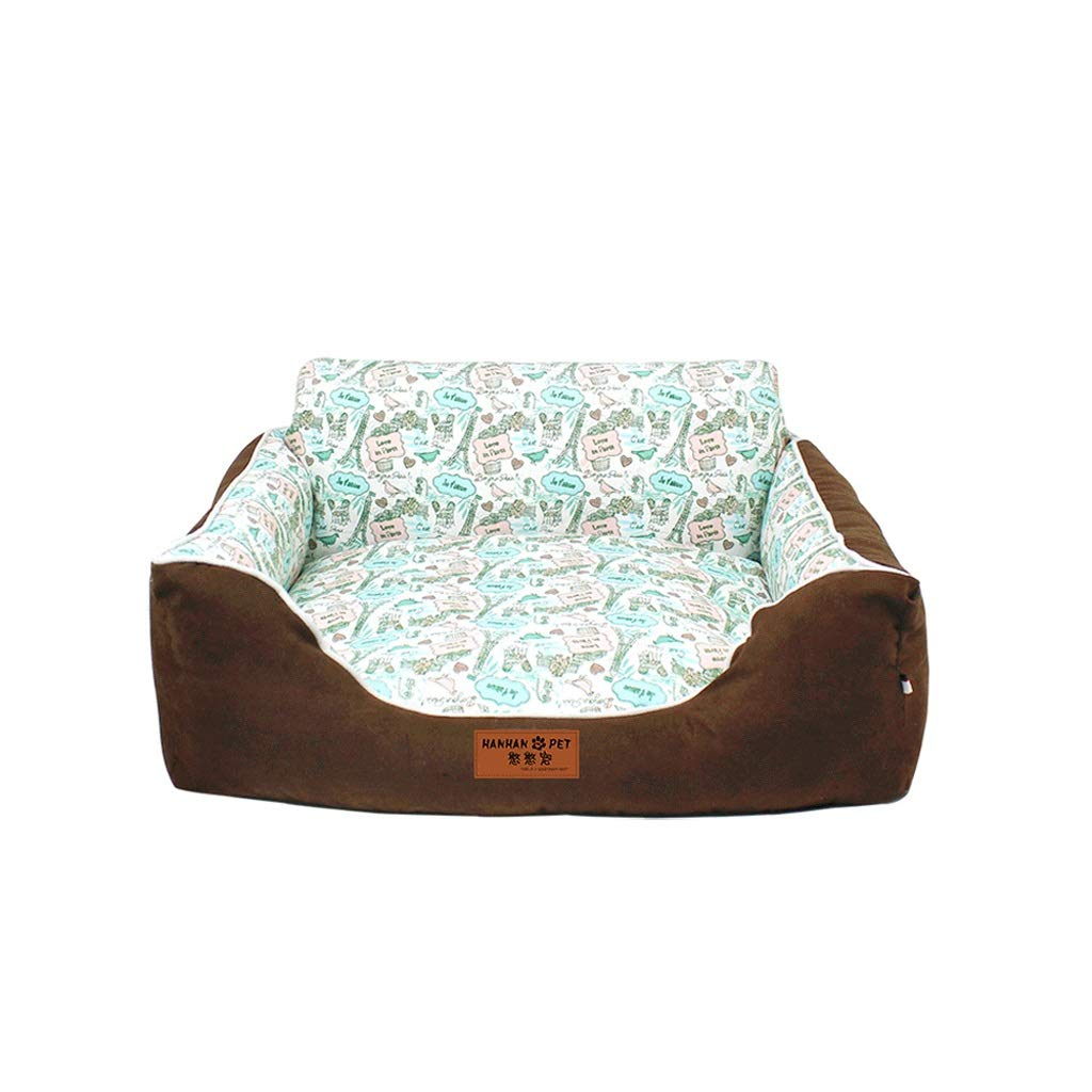 Brown S (50 × 40 × 25cm) FH Pet Nest, Four Seasons Universal Removable And Washable Back Dog Bed Cat Litter Suitable For Small And Medium Pets, Multi-color Selection And Multi-size (color   Brown S (50 × 40 × 25cm))