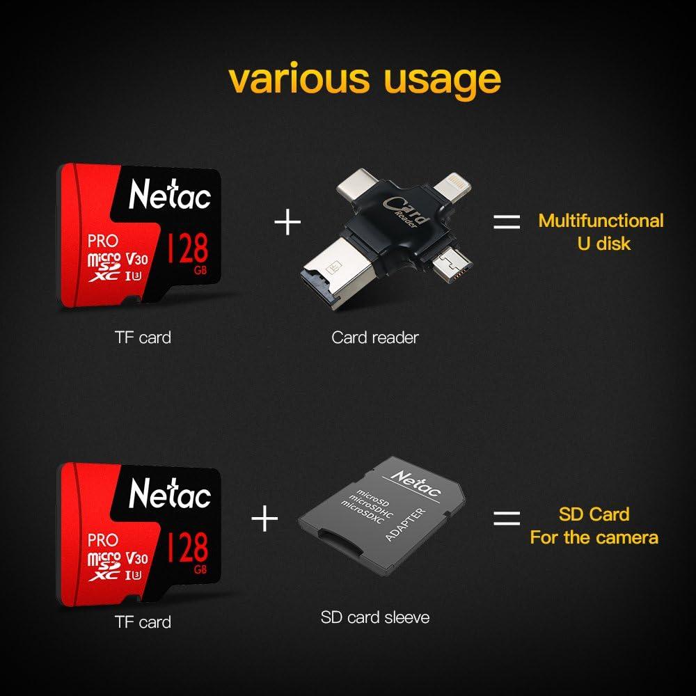 KKmoon Micro SDXC TF Flash Memory Card 64GB 128GB optional Netac Data Storage V30//UHS-I U3 High Speed Up to 98MB//s
