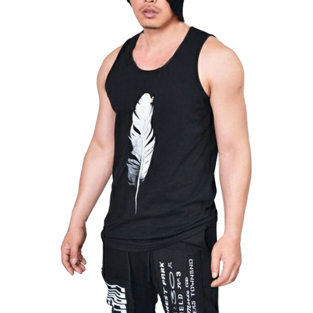 WUAI Mens Workout Tank Tops Fashion Muscle Gym Pullover Fitness Sleeveless T-Shirts Vest(Black,US Size L = Tag XL)