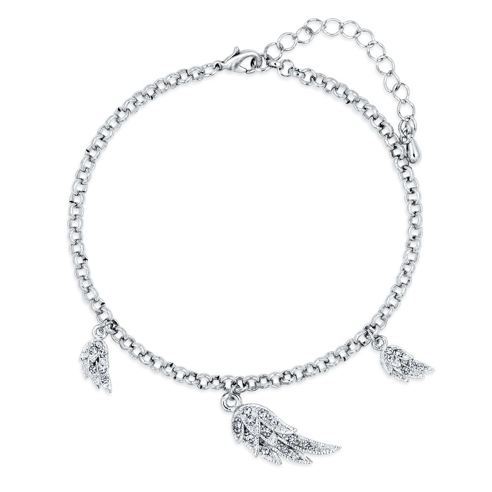 BERRICLE Rhodium Plated Base Metal Angel Wings Fashion Charm Anklet 9+2 Extender a046