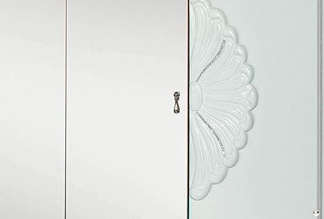 LIGNEMEUBLE Florina lacada Blanca Dormitorio Barroco: Conjunto con Armario de 4 Puertas + Cama 160/200 + 2 mesitas de Noche + cómoda + Espejo.: Amazon.es: Hogar
