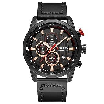 c0d5ac818fb Mens Water Resistant Sport Chronograph Watches Military Multifunction  Leather Quartz Wrist Watches (black black)
