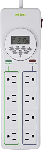 BN-LINK 8 Outlet Surge Protector with 7-Day Digital Timer 4 Outlets Timed, 4 Outlets Always On – White