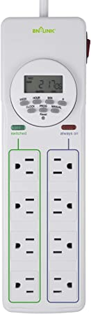 BN-LINK 8 Outlet Surge Protector with 7-Day Digital Timer (4 Outlets Timed, 4 Outlets Always On) - White