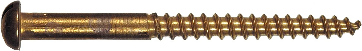 The Hillman Group 1855 8 x 1 Brass Round Head Slotted Wood Screw 20-Pack