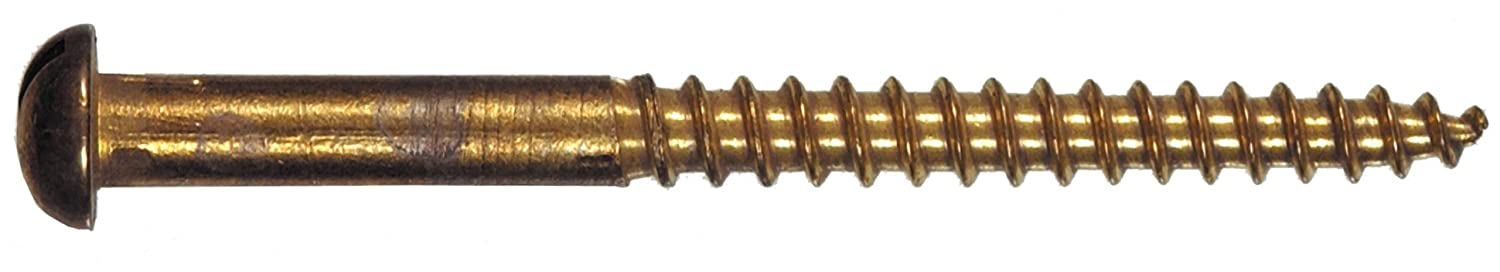 The Hillman Group 1842 6 x 1-1//2 Brass Round Head Slotted Wood Screw 20-Pack