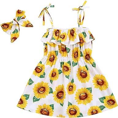 Summer Baby Girls Lemon Print Princess Strap Dress Infant Toddler Sleeveless Bowknot Floral Beach Outfit Sundress