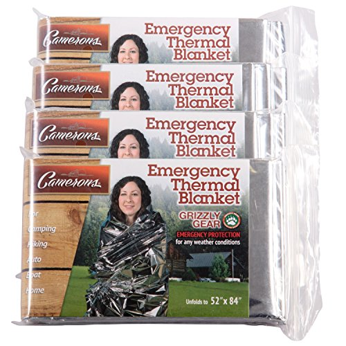 Grizzly Gear Emergency Thermal Blankets (4 Pack) Folds to 52