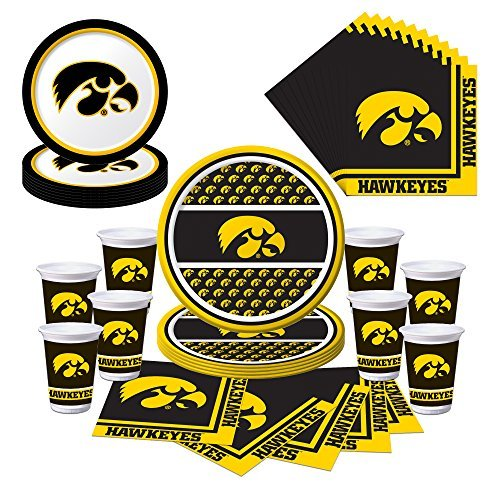 University Of Iowa Party (Creative Converting Iowa Hawkeyes Party Pack with Plates, Napkins, Cups (Serves)