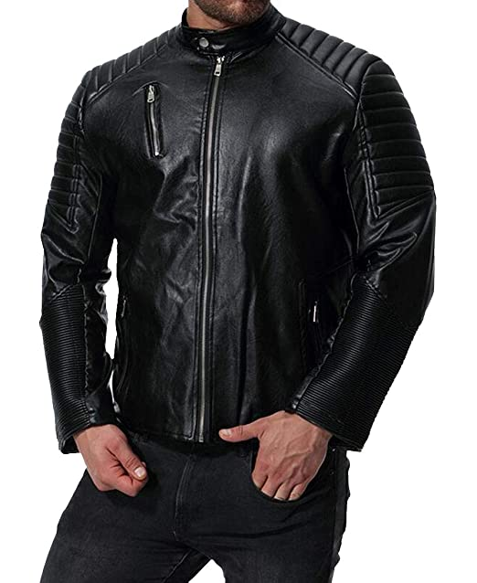 47eb5063b9 MOUTEN Men s Zipper Pu Faux Leather Moto Biker Ruched Slim Jacket Coat  Outwear Black XS