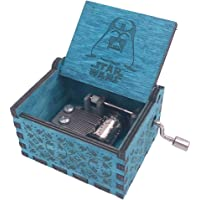 Star Wars Music Box Hand Crank Musical Box Carved Wooden,Play Star Wars Theme Song
