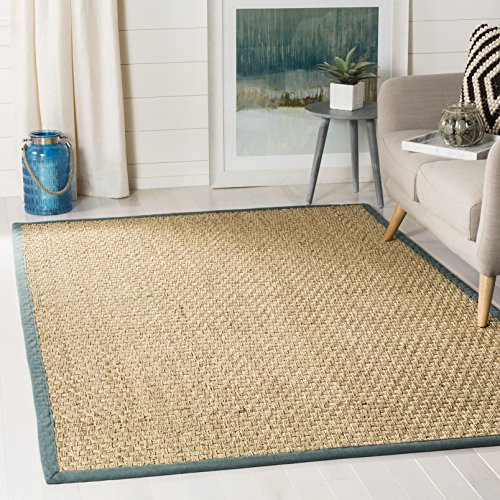 8sq Light Blue Color - Safavieh Natural Fiber Collection NF114M Basketweave Natural and  Light Blue Seagrass Area Rug (6' x 9')
