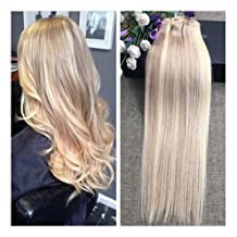 """Fshine 14"""" 9 Pieces Brazilian Clip in Full Head Set Color #18 and 613 Blonde Highlight Clip in 100 Human Hair Extensions Double Weft Clip in Extensions 120Gram With Clips on"""