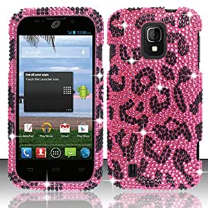 ZTE Majesty Z796C Bling Crystal Full Rhinestones Diamond Case Protector , Pink Leopard