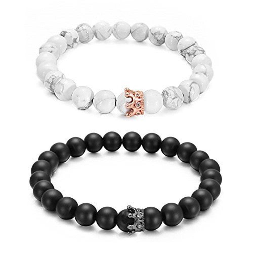 King Queen Crown Couple Bracelets His & Her Friendship 8mm Bead Bracelet White Black for Women Men, 2 Pcs wisvooo
