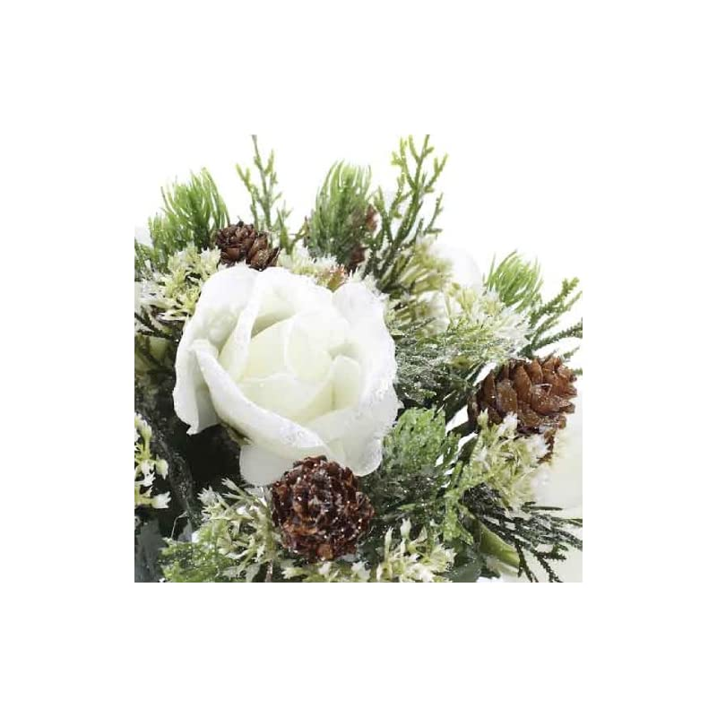 silk flower arrangements group of 6 elegant winters day rose stems for winter weddings, parties, and decorating