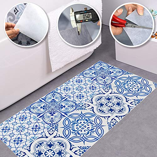 Alwayspon Non-Slip Vinyl Floor Sticker, Waterproof PVC Backsplash Tile Decal, Self-Adhesive Peel and Stick Wall Sticker for Home Decor, 23.6x47.2inch 1pcs