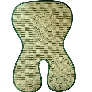 """Fairy Baby Folding Summer Child Safety Seat Mat Natural Bamboo Buggy Pad Green,Size 7"""" Wx15 L"""