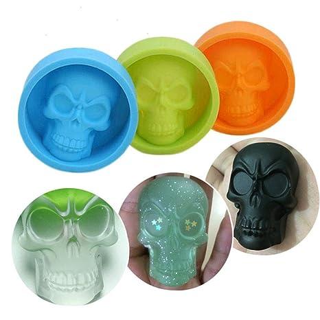 CocoMarket Home-Pop Molde de silicona para repostería, diseño de calavera 3D
