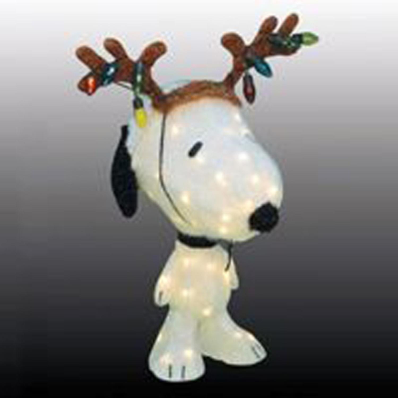 24'' Peanuts Snoopy with Reindeer Antlers 3-D Lighted Christmas Yard Art