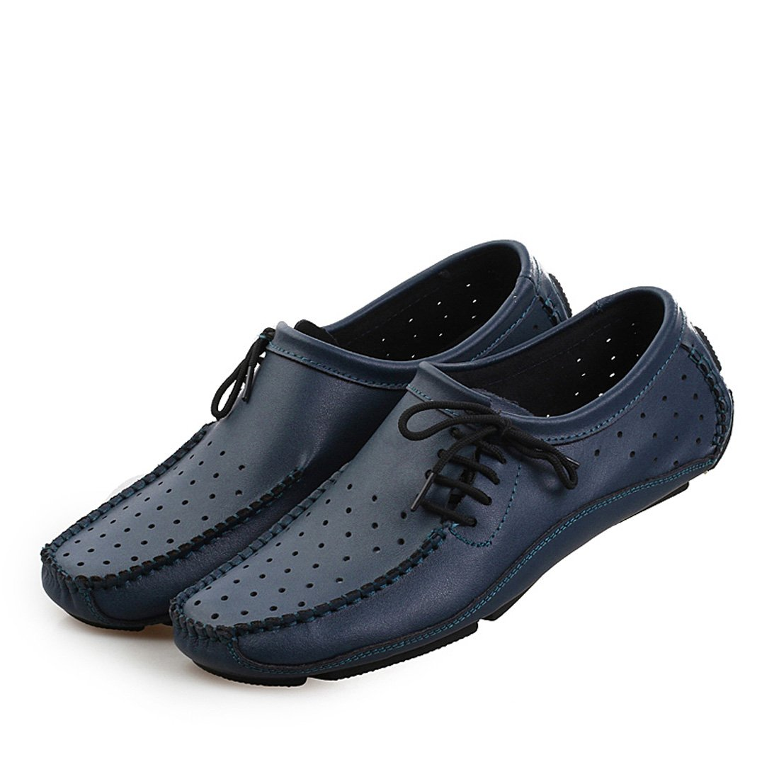 Ceyue Mens Slip on Loafers Casual Flat Driving Shoes Hole breahthable Leather Shoes Blue Size 8.5 eu42