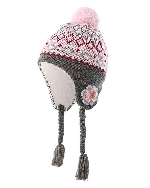 Home Prefer Toddler Girls Hats with Soft Fleece Lining Crochet Flowers Earflaps  Hat Pink Peruvian Hat 2e64008ed30
