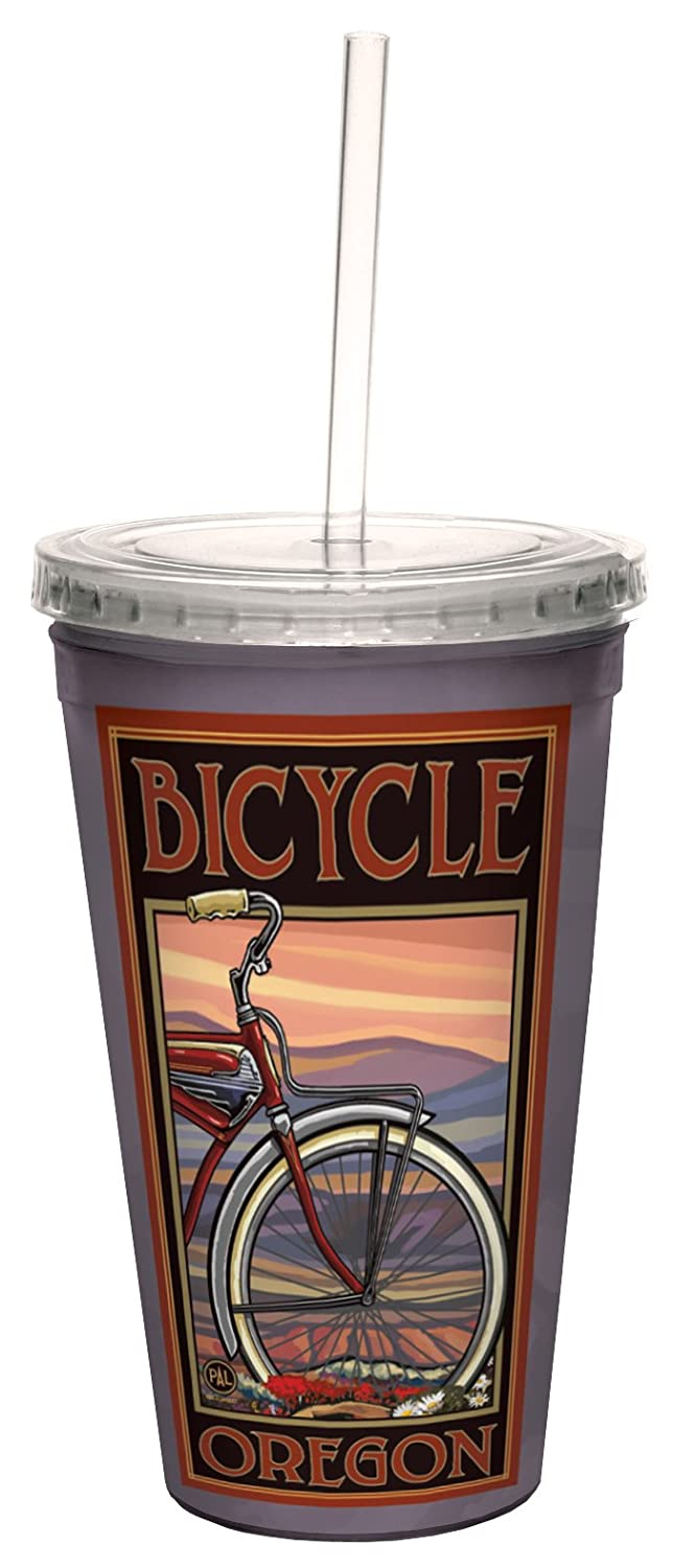 Lanquist Artful Traveler Double-Walled Cool Cup with Reusable Straw Tree-Free Greetings cc33256 Vintage Oregon Bicycle by Paul A 16-Ounce