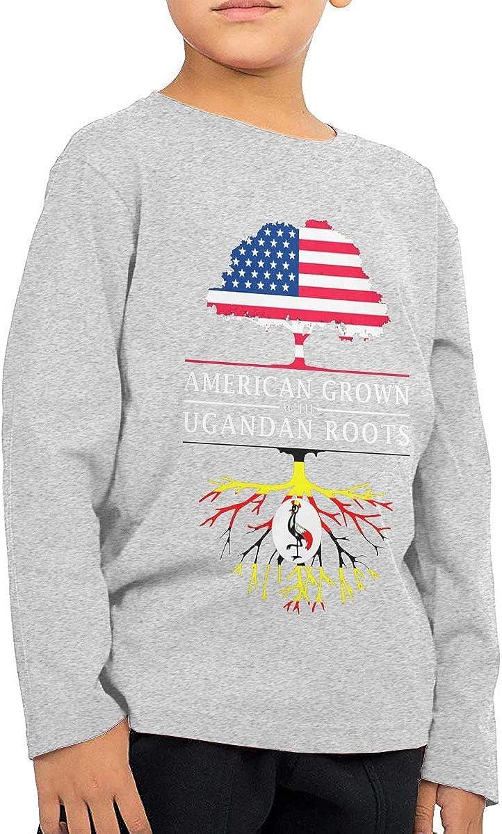 HADYKIDSLOVE American Grown with Ugandan Roots Kids T-Shirt Long Sleeve Boys Girls T-Shirt
