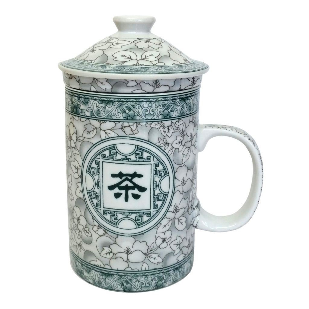 Porcelain Chinese Tea Mug with Infuser and Lid Jasmine Blossom Pattern