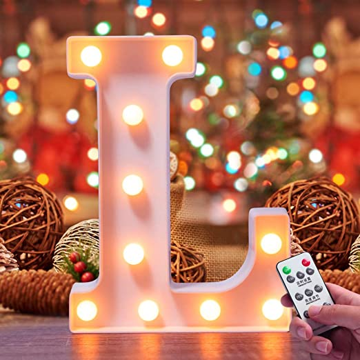 Lifegoo LED Letter Lights 26 Alphabet White Marquee Letters Night Light Sign with Diamond Bulbs Remote Control Timer Dimmable for Wedding/Party Christmas Lamp Home Bar (L)