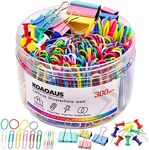 300 Pcs Binder Clips Paper Clips Push Pins, Medium Mini Binder Clips Combination, Jumbo and Small Paper Clips, Tacks, Rubber Bands,Office Supplies School Supplies, KOAOAUS Multi-Color Color Set.