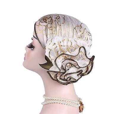 Ymysfit Femme Chapeau Coiffure Style Mouslin Turc Couleur Unie Fleur en  Dylon Élégant Mode 4a6f0e53d85