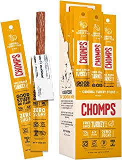 product image for CHOMPS Free Range Turkey Jerky Snack Sticks, Keto, Paleo, Whole30 Approved, Non-GMO, Gluten Free, Sugar Free, 60 Calorie Snacks, 1.15 Oz Meat Stick, Pack of 24