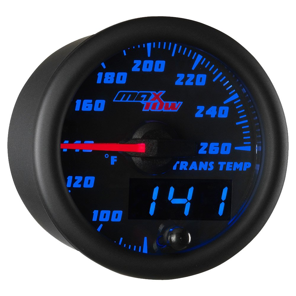 MaxTow Double Vision 260 F Transmission Temperature Gauge Kit - Includes Electronic Sensor - Black Gauge Face - Blue LED Illuminated Dial - Analog & Digital Readouts - for Trucks - 2-1/16'' 52mm by MaxTow