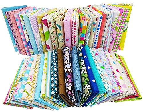Gnognauq 200pcs Cotton Fabric DIY Patchwork Crafts Textile Square Fabric Assortment with Different Patterns for DIY Sewing Quilting Patchwork Crafts Doll Cloth (15cm15cm)