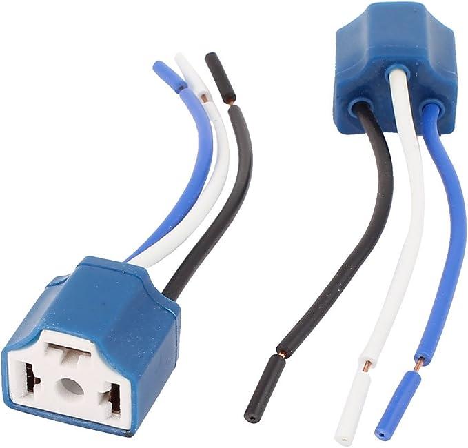Sourcingmap 2 Stk Blau H4 Keramik 3 Draht Scheinwerfer Harness Nebel Licht Sockel Für Auto De Auto
