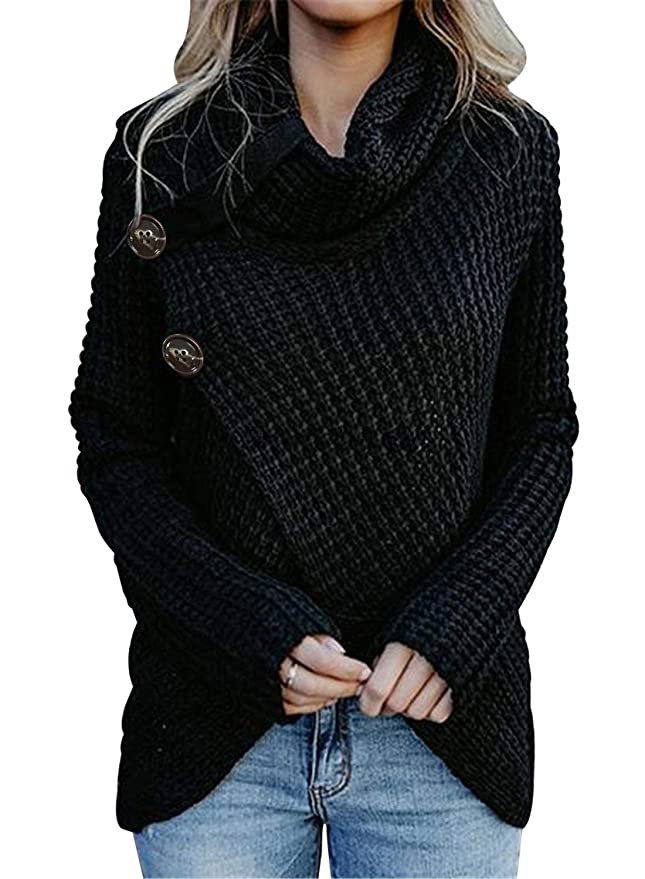 Asvivid Womens 2019 Winter Warm Turtleneck Cowl Neck Pullover Asymmetrical Wrap Button Front Knitted Sweater Tops M Black