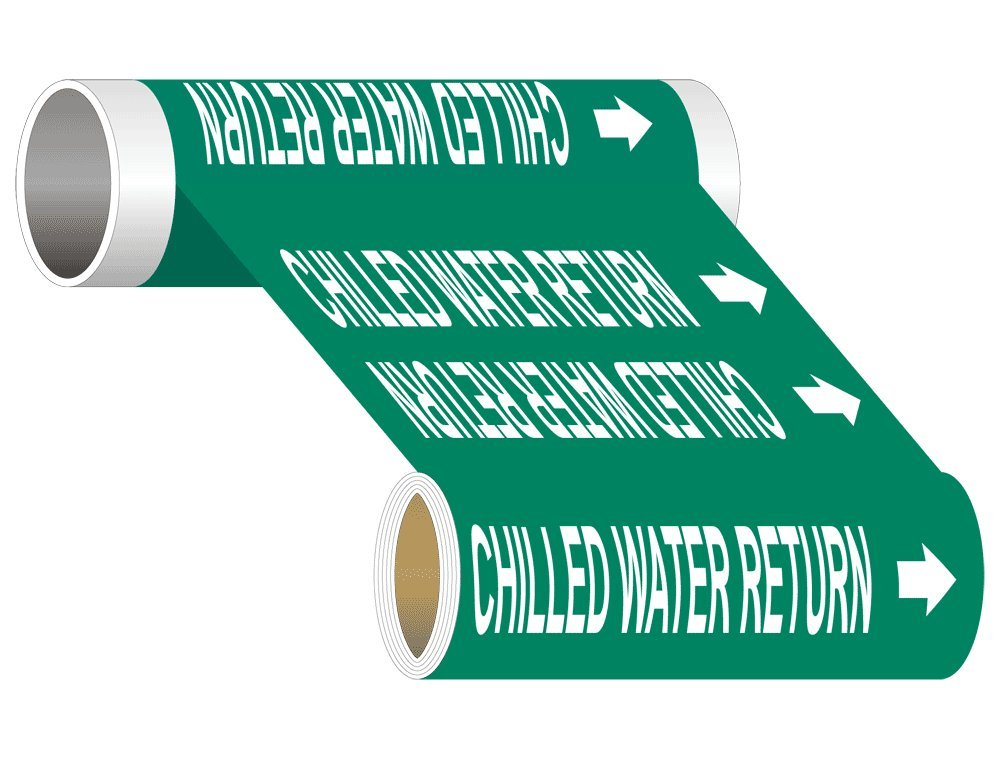 Chilled Water Return (White Legend On Green Background) ASME A13.1 Pipe Label Decal, 12 inch x 30 ft, 1.25 inch Letters on Vinyl by ComplianceSigns
