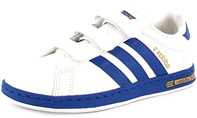 Boys Adidas Derby 2 Leather Court Trainers. WhiteOrange