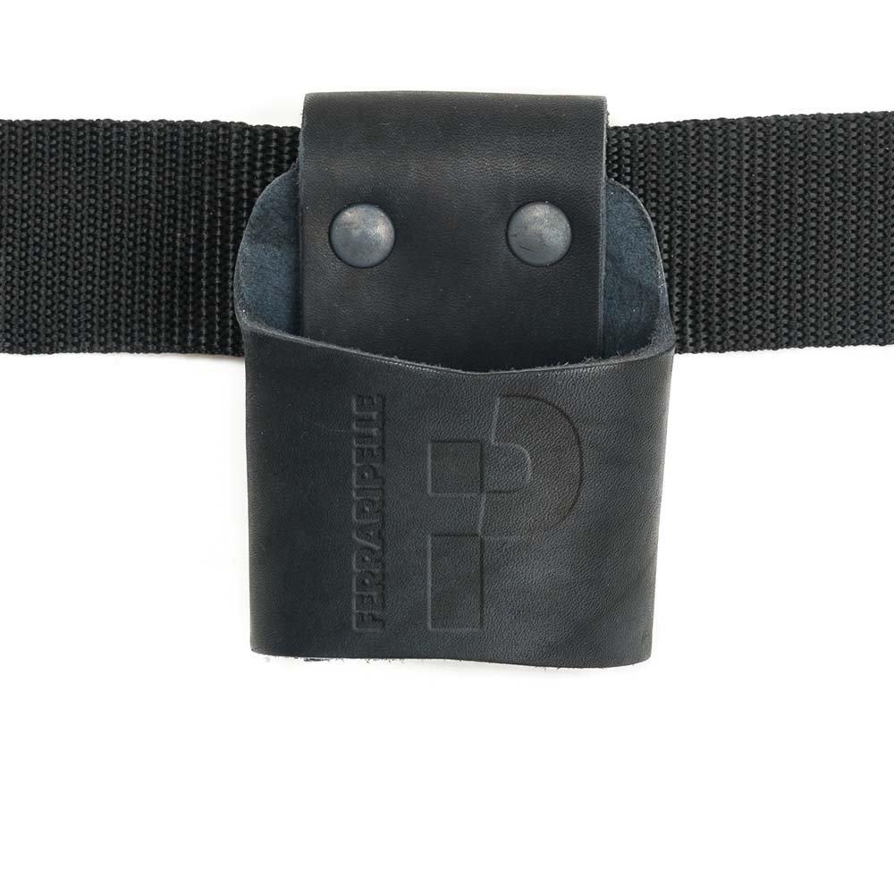 Rivetti Bruniti Cintura Inclusa in Vero Cuoio Colore Nero Porta Martello