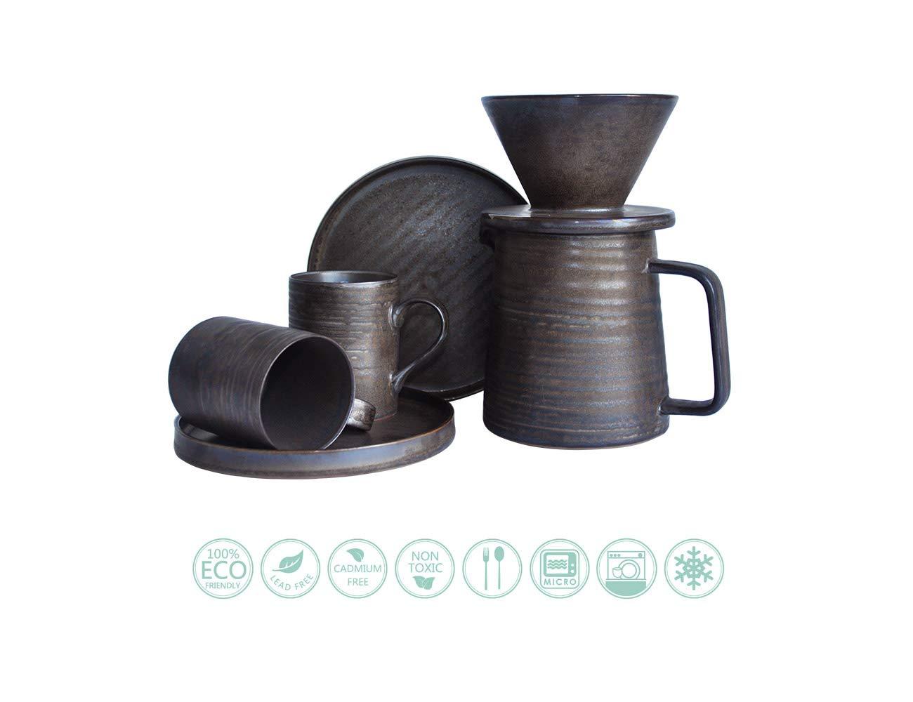 Globe Faith Eco-friendly Coffee Gift, Pour Over Coffee Maker Espresso Coffee Set, Pour Over Coffee Brewer Drip, Coffee Percolator, Coffee Pot and Cup Maker, Retro Annular Texture Metallic Glaze, Black