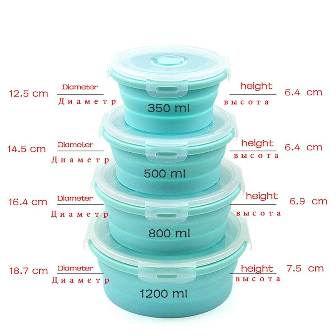 Fiambrera Horno de microondas Fiambrera Colorido para ni/ños contenedor de Alimentos Silicona ecol/ógico port/átil Heaviesk Pr/áctico Plegable