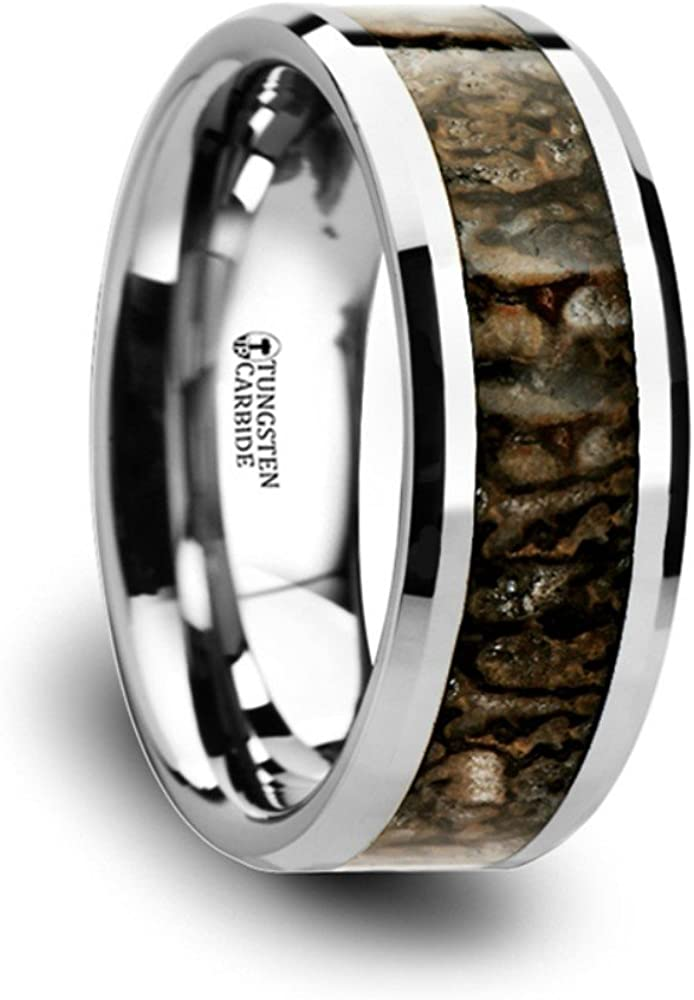 Thorsten Ordovician Brown Earthtone Dinosaur Bone Inlay on Tungsten Carbide Wedding Band Beveled Edged Ring 8mm from Roy Rose Jewelry